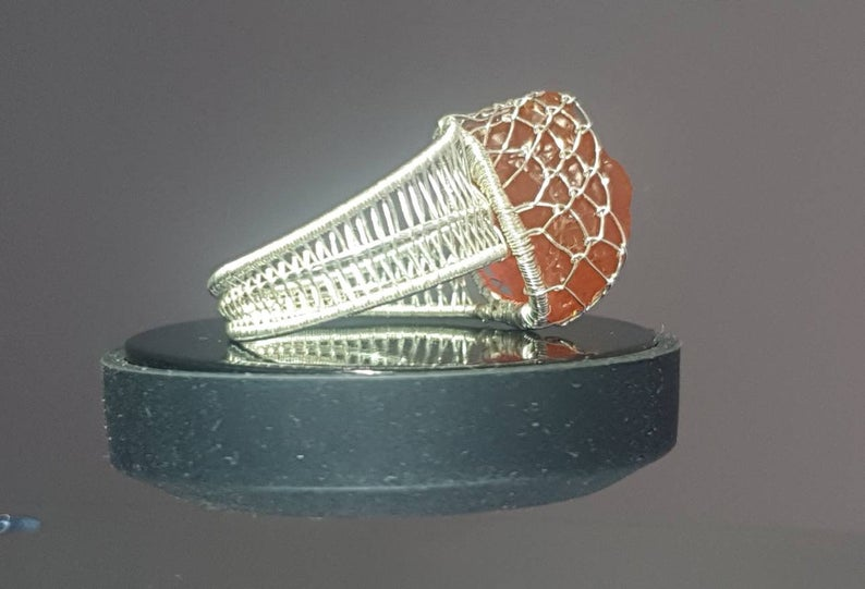 Mexican Fire Opal Fine Silver Wire Weave Ring Size 10 US